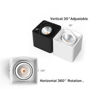 Image 4 - [DBF] kwadratowe COB LED z możliwością przyciemniania Downlights 10W 12W 20W 24W montowane na powierzchni lampy sufitowe LED światło punktowe LED oprawy AC85V 265V