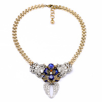Blue Red Resin Crystal Geometric Pendant Chunky Necklace Charm Gold Color Short Necklace Collars Indian Jewelry