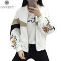 Bordado Floral Bomber Jacket Women Básica Abrigos Blanco Negro Corto Abrigo de Primavera 2017 Nueva Moda Feminin Jaqueta Chaquetas Mujer