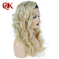 QueenKing Hair Brazilian 180% Density Ombre 1B 613 full lace wig Blonde Curly Remy Hair Free Shipping