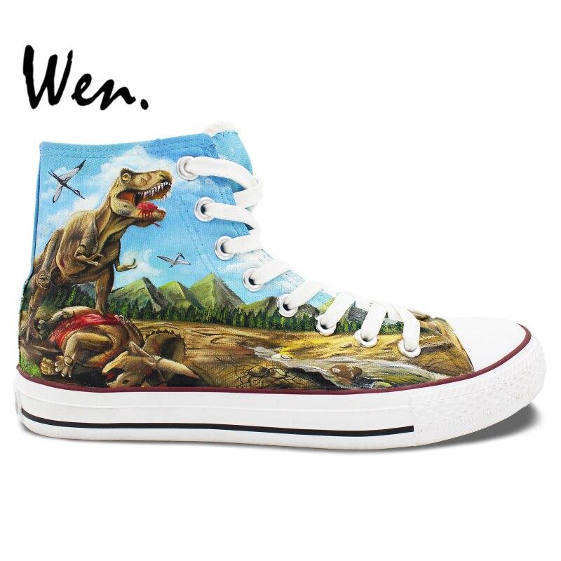 Prix pour Wen Custom Design Peint À La Main Chaussures de Dinosaures High Top Toile Sneakers Hommes Femmes De Noël Cadeaux D'anniversaire
