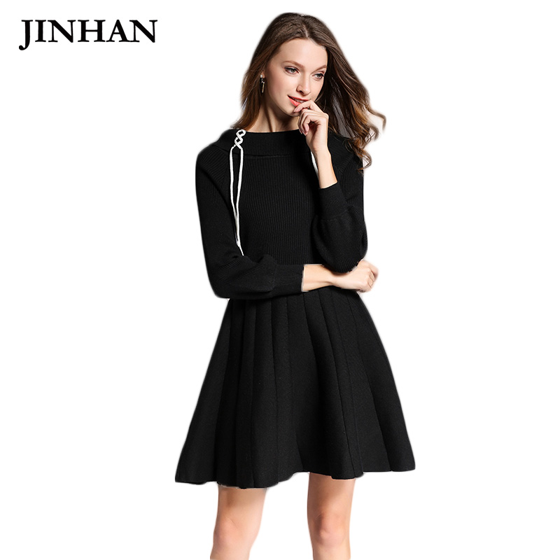 JINHAN Spring New Design Tie Up Women Sweater Dresses O-neck Black Lantern Sleeve Long Knitted Pullovers Solid Sweaters JHS910