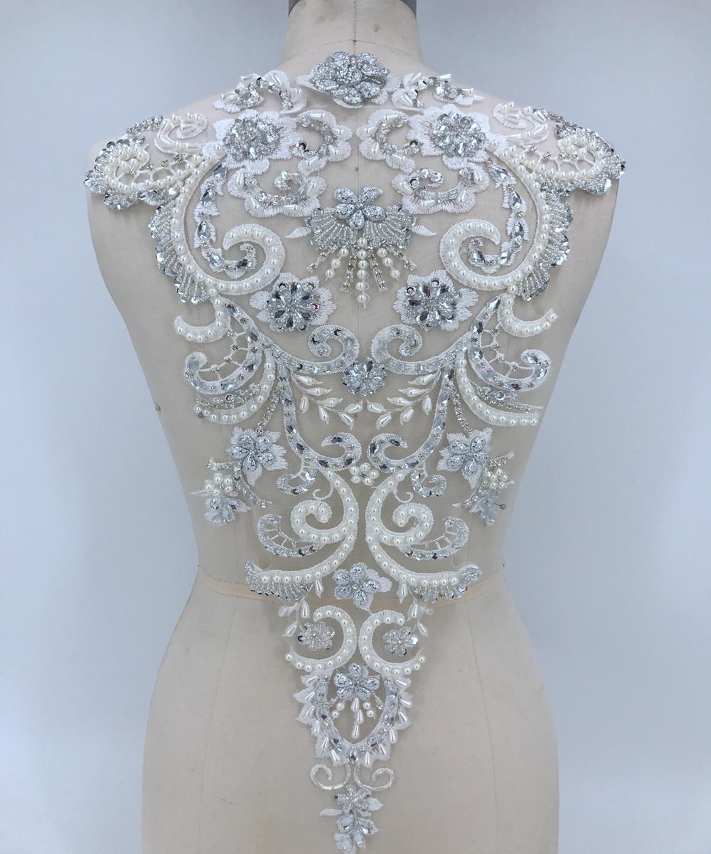 Fait à la main coudre sur argent/ivoire strass appliques cristaux garniture patchs 54*33 cm pour robe bricolage accessoires