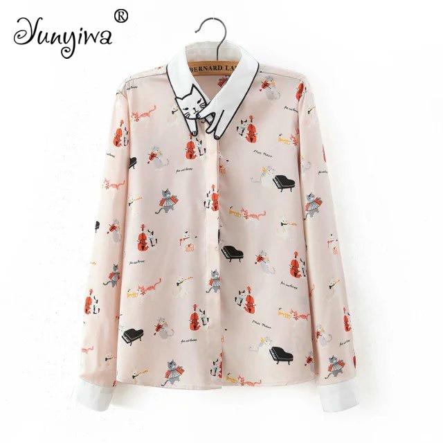 Yuuyiwa Women   Blouses     Shirts   Women's retro cat embroidered collar piano cat print casual   shirt   Tops Blusas Mujer De