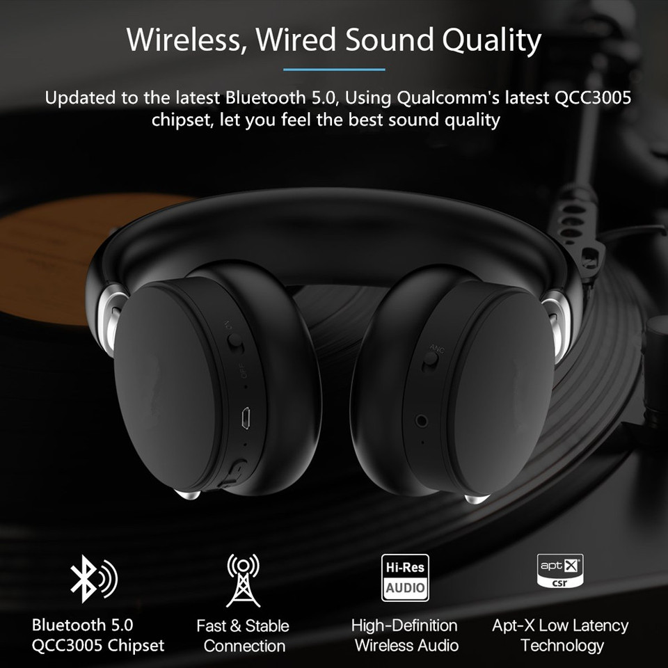 Vikefon Aptx Low Latency Bluetooth 5 0 Headphones For Tv Movice Watching Over Ear Foldable Headset With Mic Anc Hifi Music Sound Aliexpress