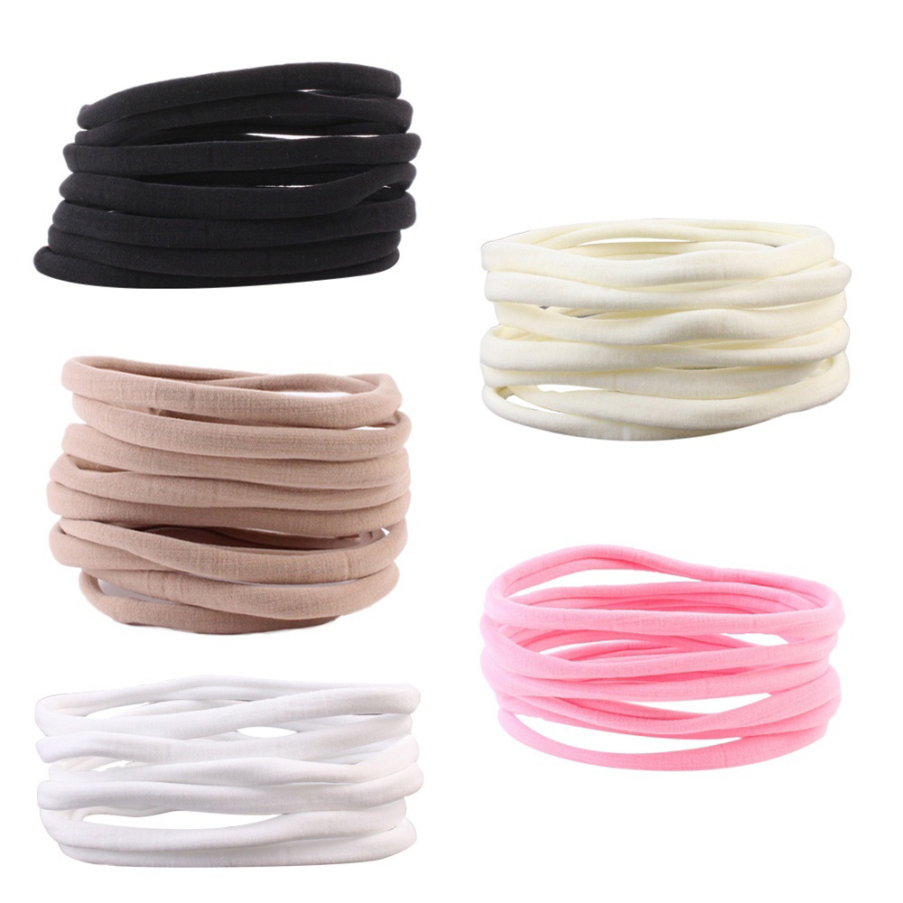 10 Pcs White Black Pink Khaki Nylon Elastic Seamless Hair Band Headband Soft DIY Headwear