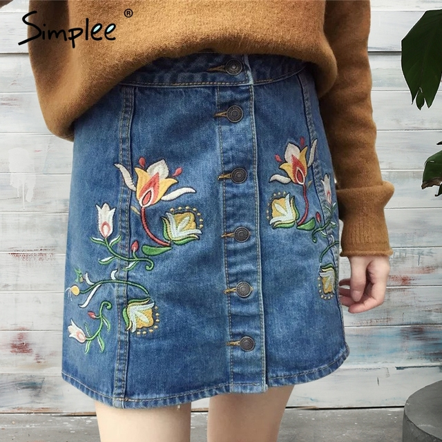 Simplee Embroidery high waist blue denim skirts womens Summer 2017 vintage floral button short skirt Casual streetwear skirt
