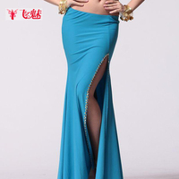 2018 New Gypsy Long Skirt Sexy Black Gypsy Skirt Belly Dance Costume Women's Belly Dance Split Skirts Indian Long Skirt B 2353