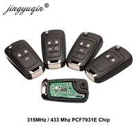 Jingyuqin chave de alarme remoto do carro para chevrolet cruze epica lova camaro impala 2/3/4 botão 315mhz/433mhz id46 pcf7931e chip chave