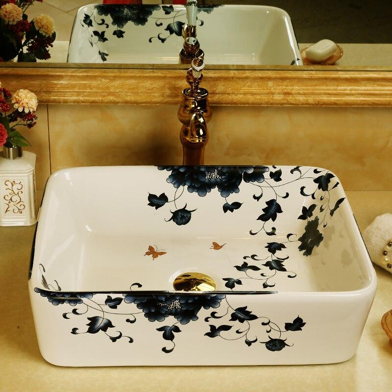 Blu e bianco di vendita calda facile uso lavabo in porcellana per lavarsi le maniBlu e bianco di vendita calda facile uso lavabo in porcellana per lavarsi le mani