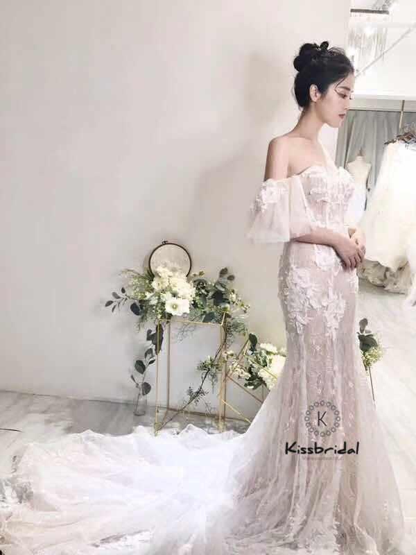 4b19ab03c8e6cba Новые красивые кружевные свадебные платья корсет Назад 2018 съемный  короткий рукав свадебное платье невесты Милая декольте