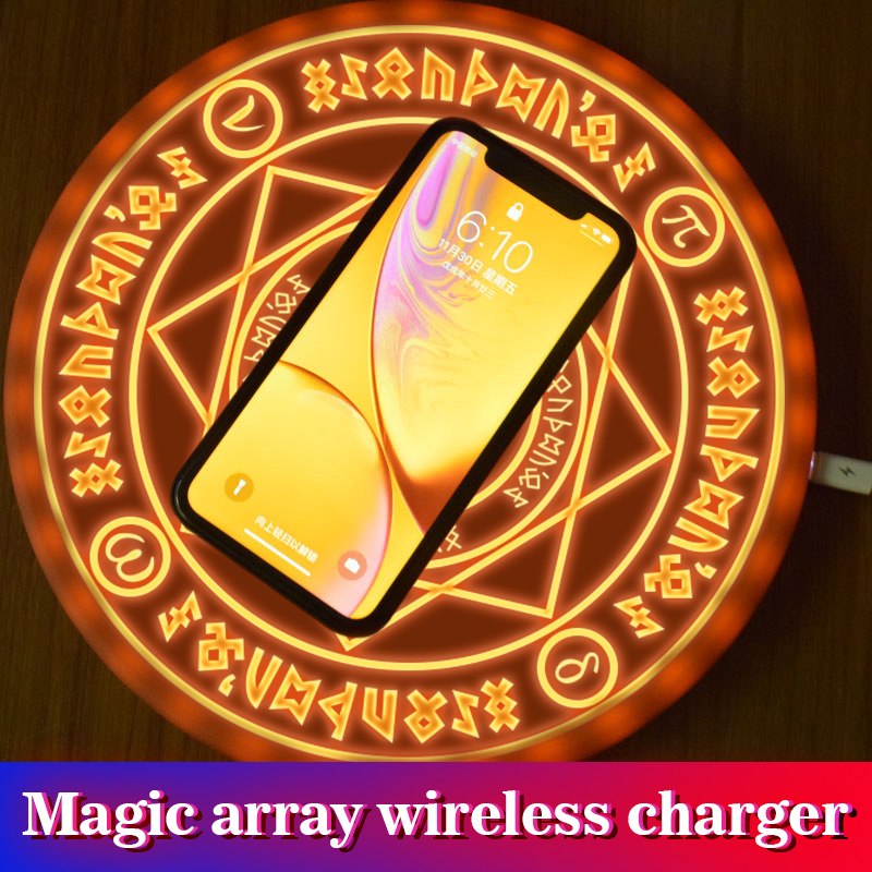 5W 10W Luminous Wireless Quick Charger For Apple iphone X XS XR 8 Plus 8+ Magic Array Wireless Charging Pad For Samsung Nokia