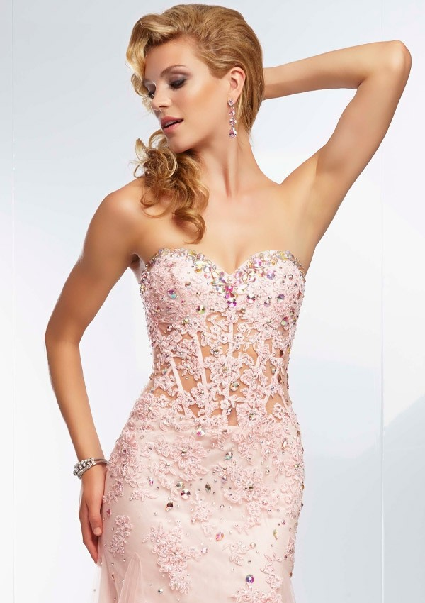 Elegant Beading Lace Appliques Sweetheart See Through Corset Red ...