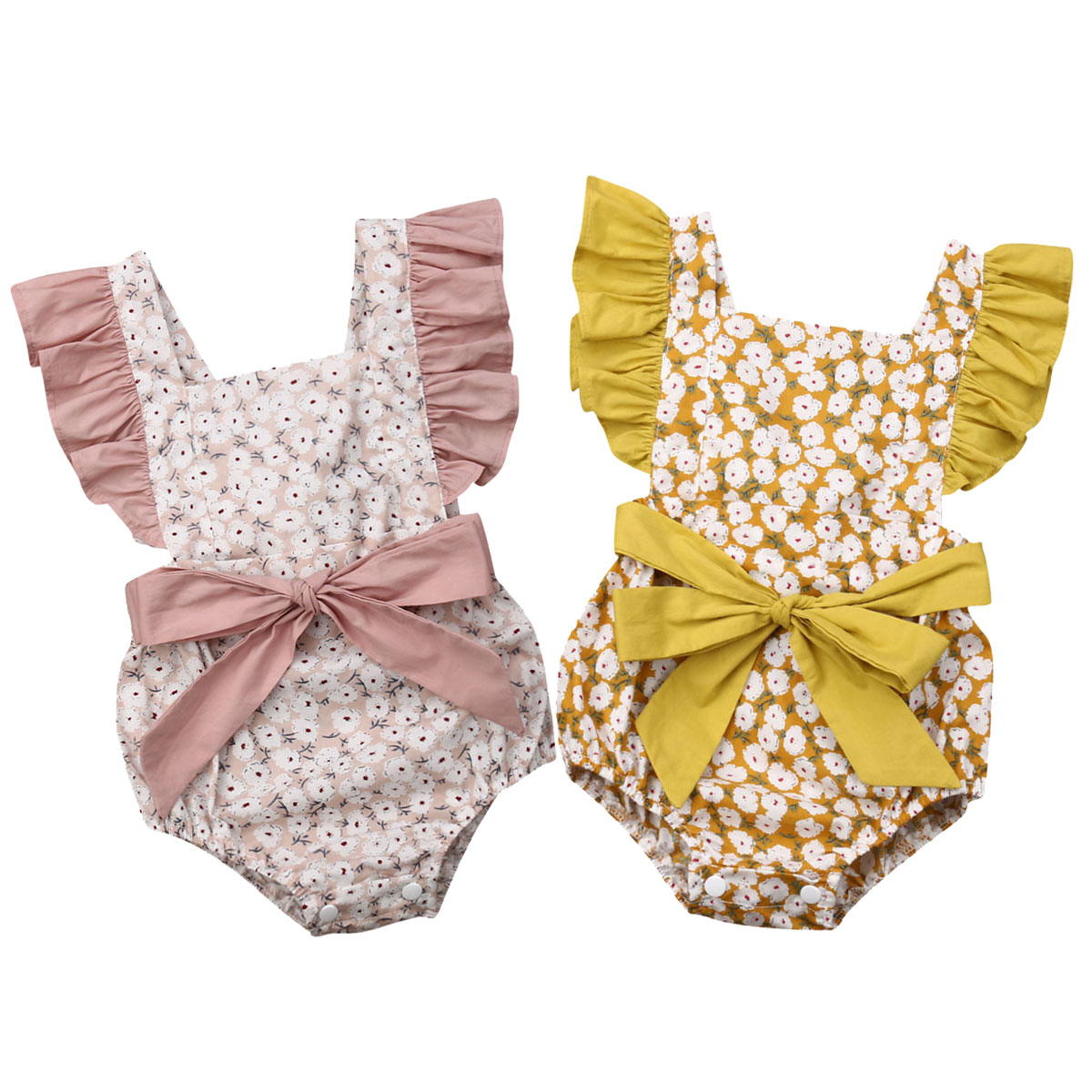 Toddler Baby Girls Ruffles Romper Infant Newborn Baby Bow Jumpsuit Summer Flower Baby Girls Clothes Baby Costumes