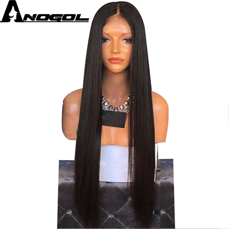 Anogol High Temperature Fiber Brazilian Hair Long Straight Full Hair Wigs Synthetic Lace Front Wig For