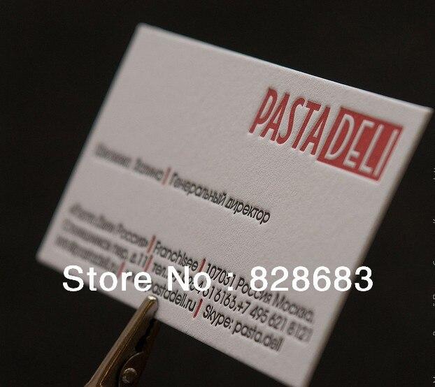 200 Pcs Deux Face Impression Art Carte De Visite Papier Avec Gaufrage LOGO Texte 90 54mm 350gms Dans Cartes Fournitures Scolaires