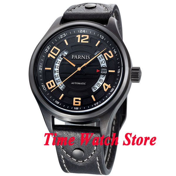Parnis 43mm quadrante nero data display vetro zaffiro pvd caso MIYOTA Automatico mens watch 378 relogio masculinoParnis 43mm quadrante nero data display vetro zaffiro pvd caso MIYOTA Automatico mens watch 378 relogio masculino