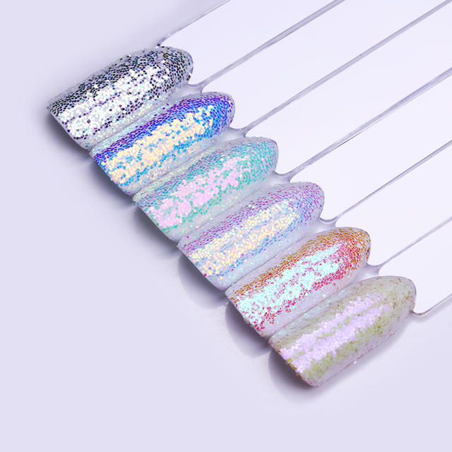 1 Box 1g Holographic Nail Glitter Powder Shiny Iridescent Flakes Chameleon Sparkly Nail Pigment Dust Powder Manicure