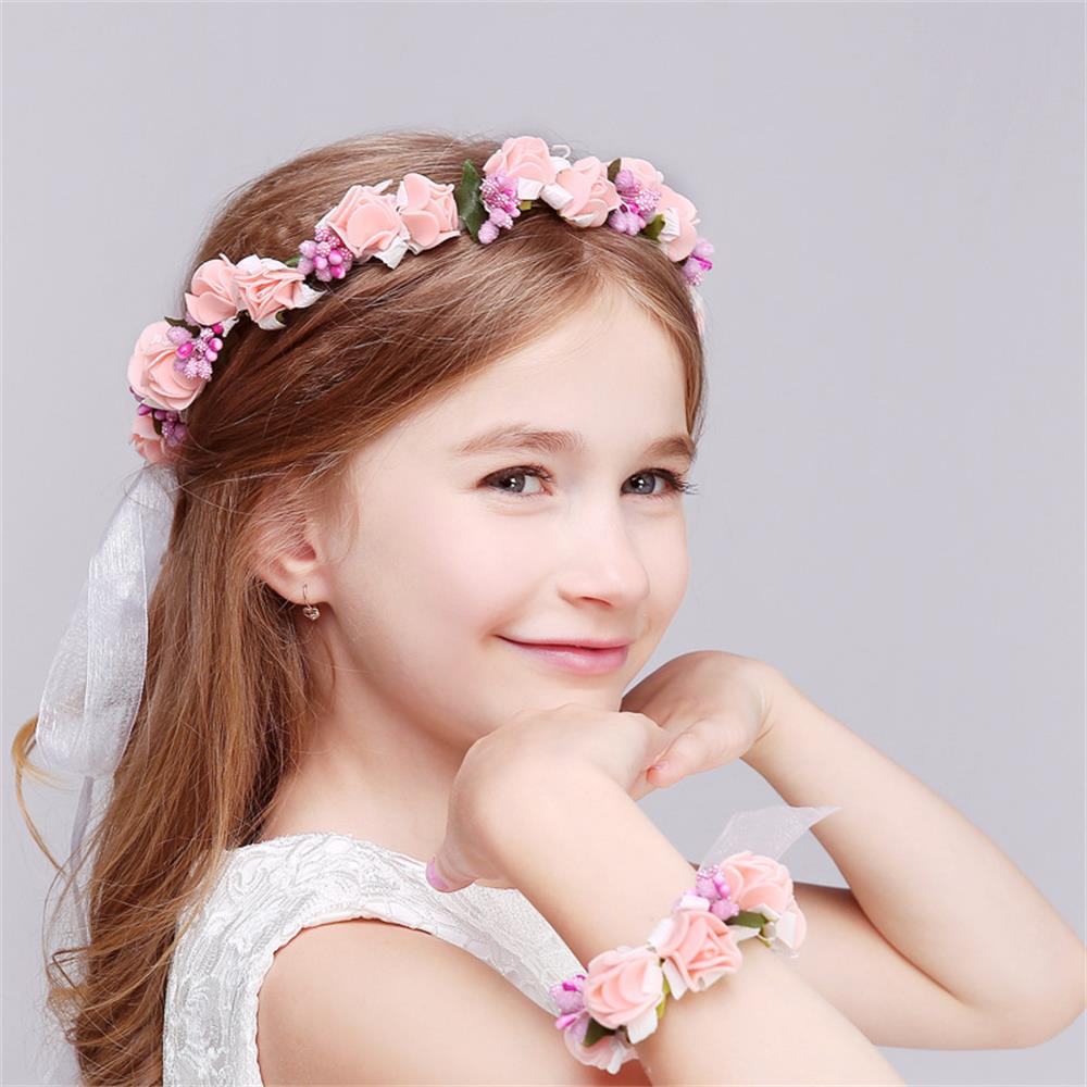 1 set wedding headwear bohemia flower floral hairbandbracelet 1 set wedding headwear bohemia flower floral hairbandbracelet children girls crown headband party hair accessories in hair accessories from mother kids izmirmasajfo