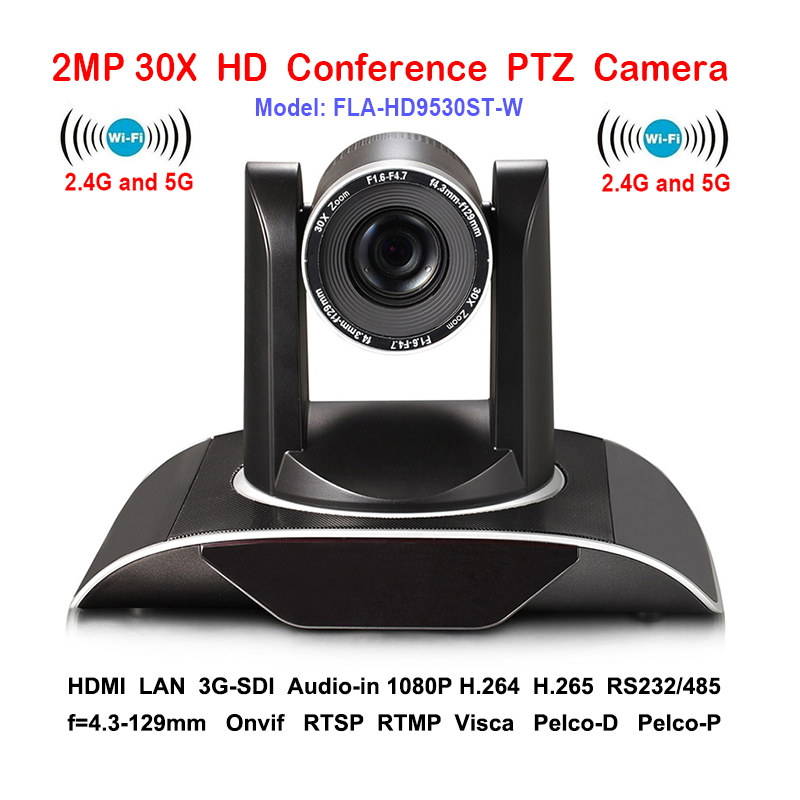 2MP 30 xOptical Zoom PTZ IP camera Wifi Wireless Conferenza con DVI 3G-SDI Uscite