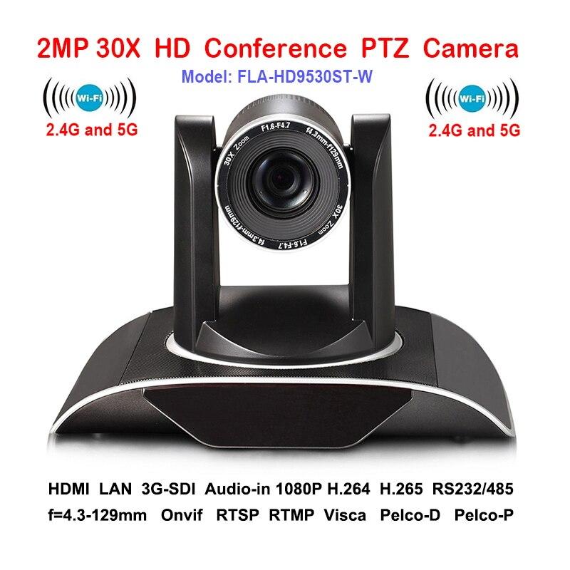 2MP 30 xOptical Zoom PTZ IP camera Wifi Wireless Conferenza con DVI 3G-SDI Uscite