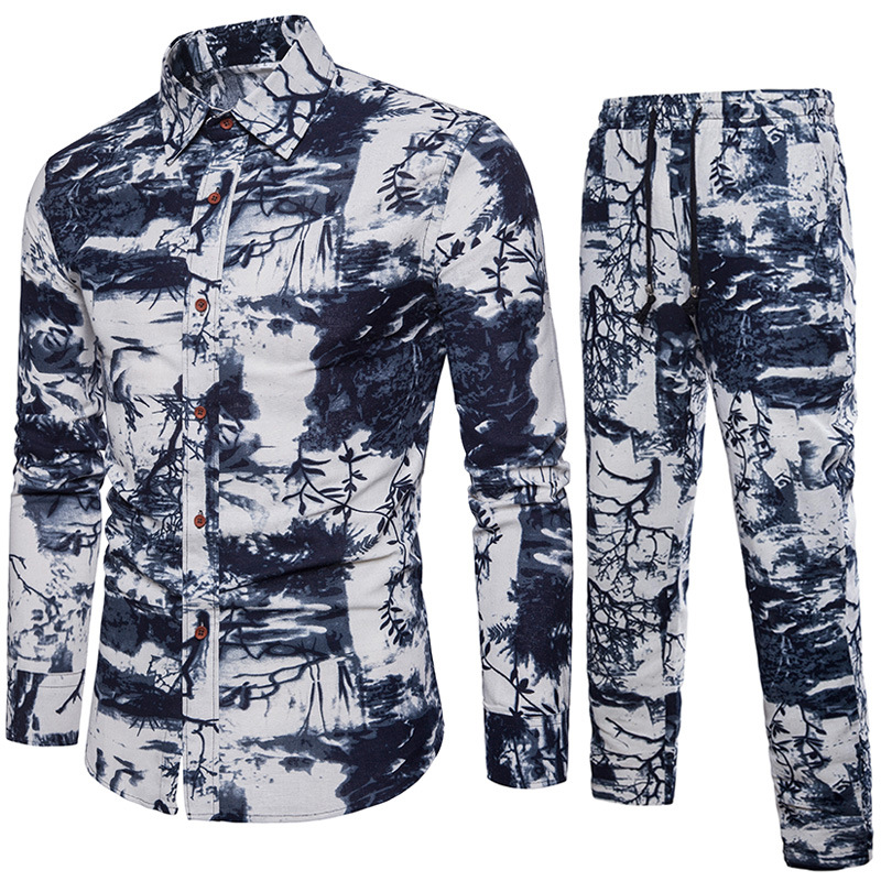 2019 New Arrival Menswear Casual Shirts Sets Shirt With Pants Long Sleeve Brand Men Ink Painting Print Breathable Linen Cotton
