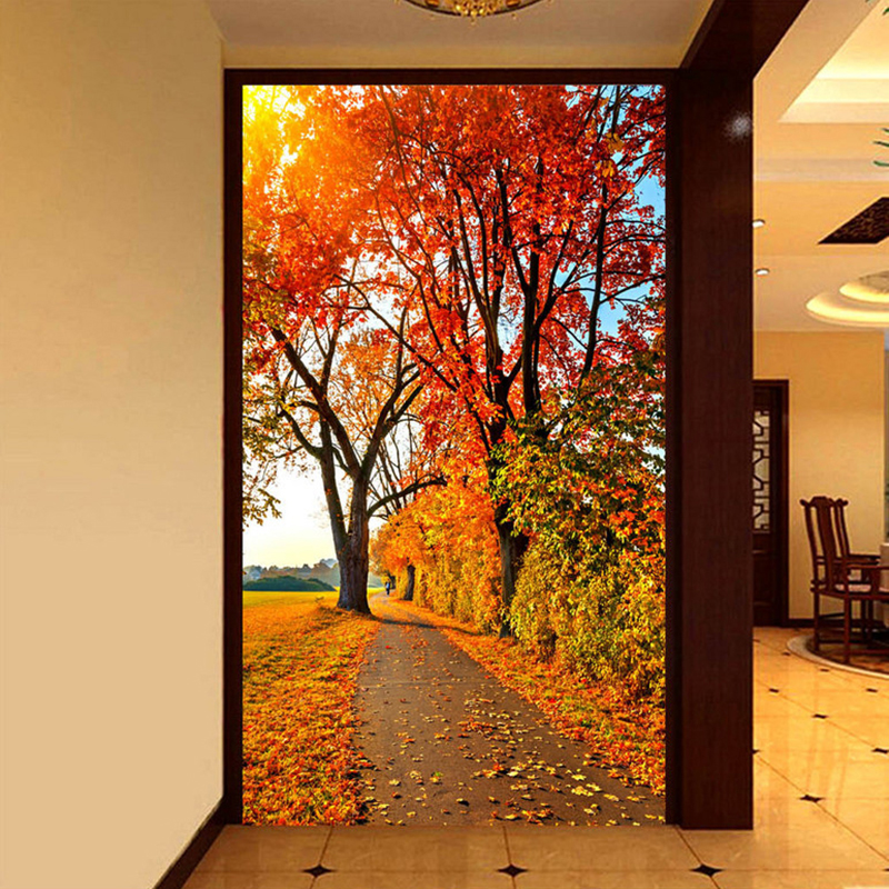 Photo Wallpaper Red Maple Forest Nature Landscape 3D Wall Mural Hotel Living Room Entrance Hall Backdrop Wall Papel De Parede 3D