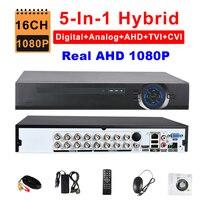 Безопасности 5 в 1 полный гибрид AHD 1080 P 16ch DVR TVI CVI аналоговый IP Камера ONVIF 3G WI FI наблюдения видеорегистратор Настоящее 1080 P HDMI hi3531a