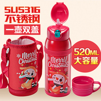 High Quality Kids Vacuum Flasks With Silicone Straw Stainless Steel Lovely baby Travel Mug Thermal Bottle Thermo cup BPA Free