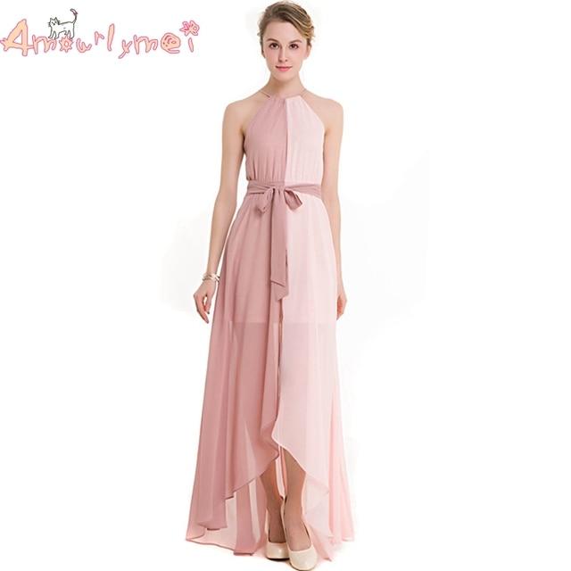 Amourlymei Pink Chiffon Long Dress 2017 Summer New Women Elegant ...