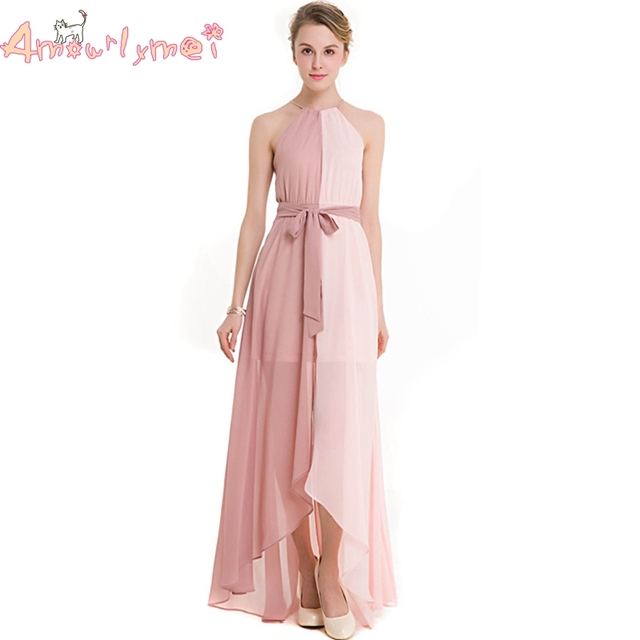 763ae13960 Amourlymei różowa szyfonowa długa sukienka 2017 lato nowych kobiet  elegancki formalne suknie wieczorowe Party Maxi sukienki