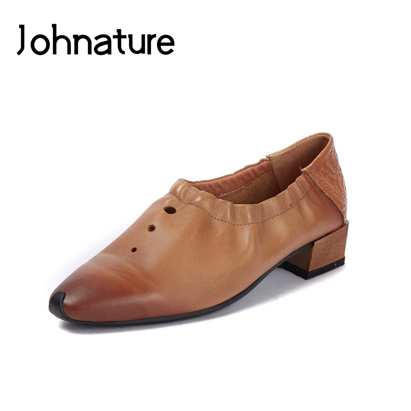 Johnature 2019 New Spring/Autumn Genuine Leather Square Heel Pointed Toe Casual Sewing Retro Hollow Slip-on Women Shoes PumpsJohnature 2019 New Spring/Autumn Genuine Leather Square Heel Pointed Toe Casual Sewing Retro Hollow Slip-on Women Shoes Pumps