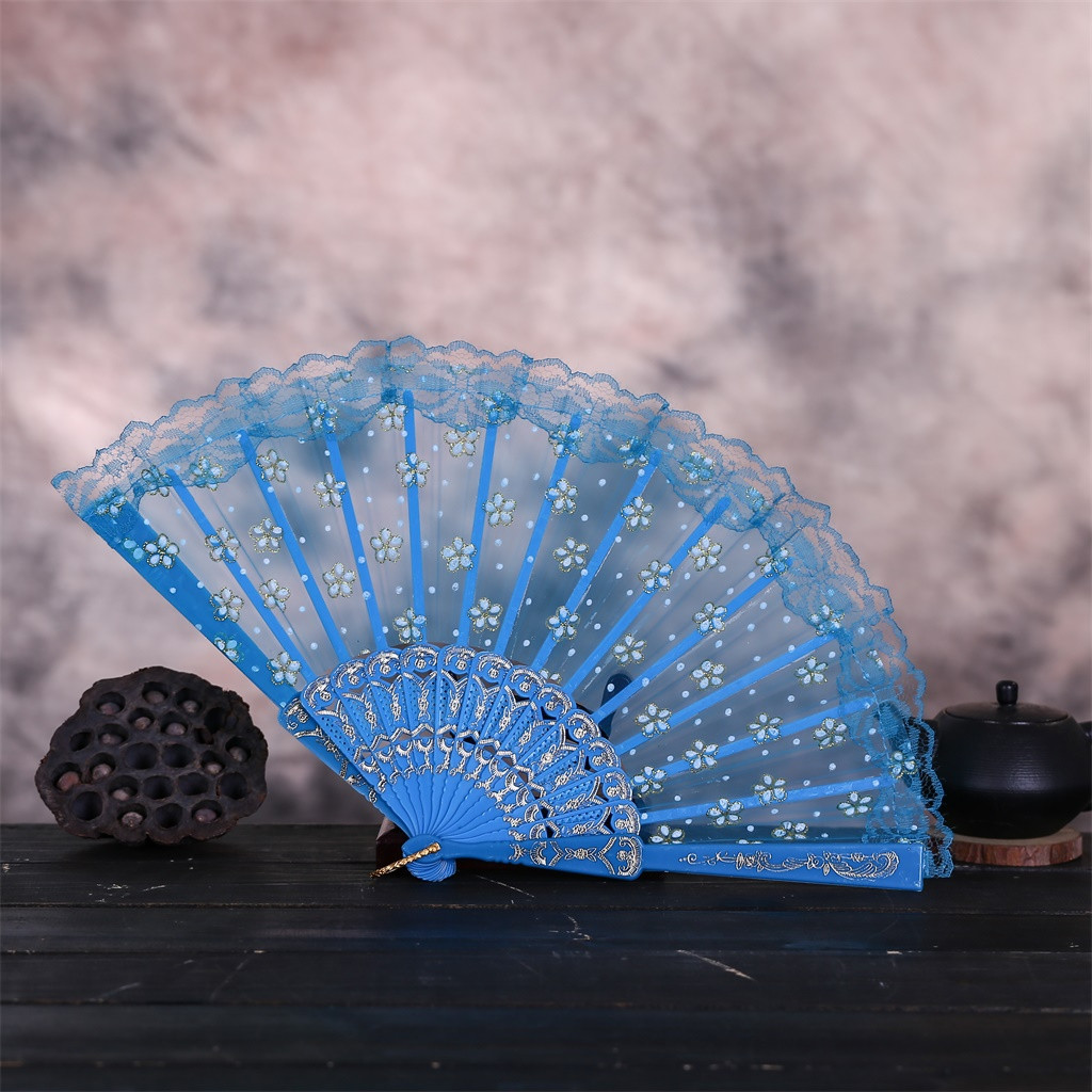 New Summer Best Chinese Style Dance Wedding Party Lace Silk Folding Hand Held Flower Fan Wedding Lace Silk Folding C523