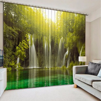 Custom any size 3D Curtain Blackout Shade Window Curtains Green Lake Waterfall Scenery Bathroom Curtain Minions Window