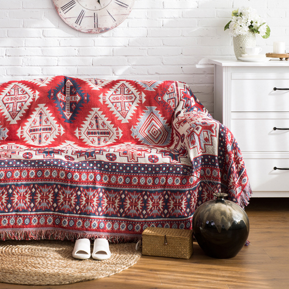 Yazi Multipurpose Red Geometric Two Sided 100% Cotton Thread Blanket Sofa  Chair Cover Throw Bed Lid Carpets Tapestry