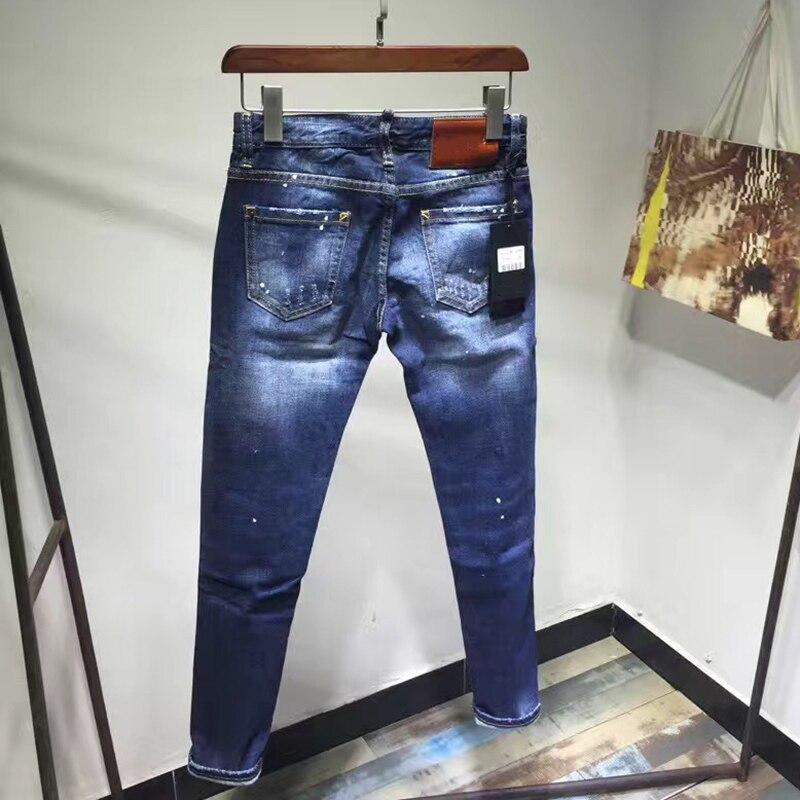 Denim Mujer Stretch Cremallera Azul Estirado Pantalones Cintura Slim Agujero Lápiz Mediados De Diseño Vaqueros Nuevo Con aUWXXB