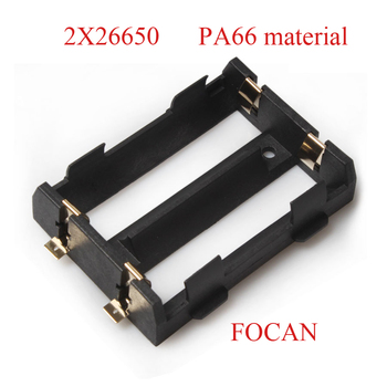100PCS 2X26650 Battery Holder SMD SMT For 26650 Black With Bronze Pins Gold Plated For 2X26650 7.4V Rechargeable Batteries