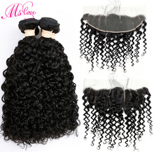 Mslove Water Wave 2 Bundle med Frontal Closure Peruvian Hair Weave Bundles Menneskehår Blonde Front Med Baby Hair Non-Remy