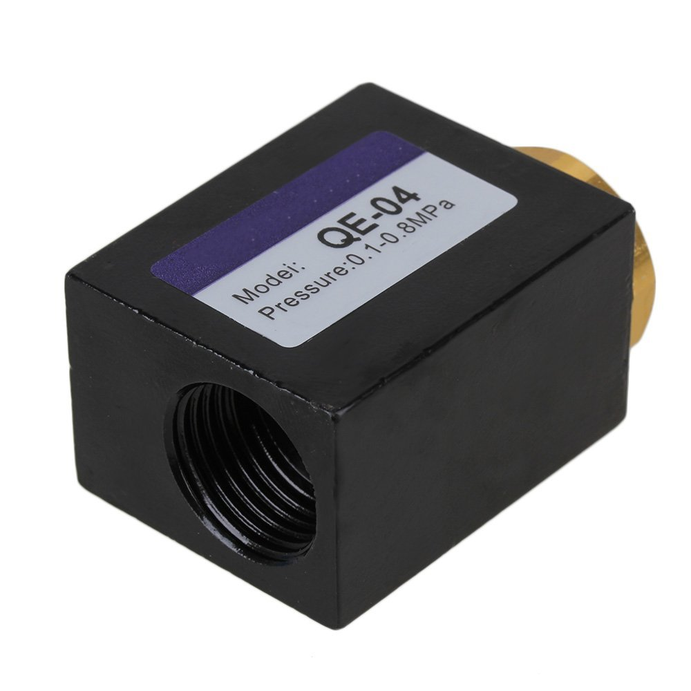 Black Alloy QE-04 1/2 Inch Diameter Inlet Port Air Quick Exhaust Control Pneumatic Valve 1pcs qe 04 g 1 2 diameter female thread air quick exhaust valve