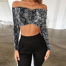 Summer Women Ladies Sexy Snake Skin Print Off Shoulder Long Sleeve Short