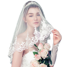 Bridal Veils 2017 Lace Edge 1.5 m * 3 m Two-Layer Wedding Accessories Cathedral Wedding Veil Mantilla Wedding Veil Wedding Veil