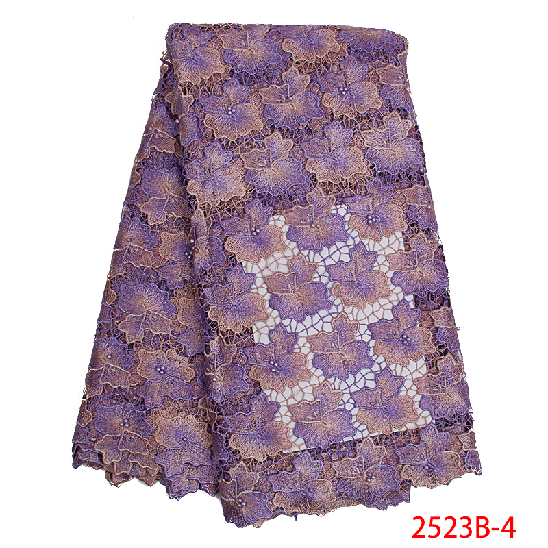 Best Selling African French Lace Fabric 2019 Latest  Guipure Lace Fabric Nigerian Laces Fabrics With Beads For Dresses KS2523B-4