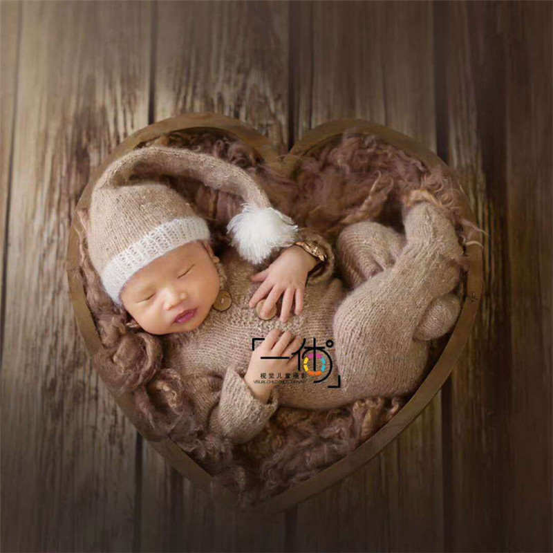 Accessoires bébé pour la photographie boîte en bois en forme de coeur accessoires de photographie nouveau-né posant canapé Studio accessoires de tir Fotografia