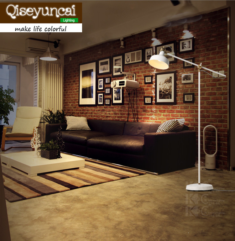 Qiseyuncai Nordic Copper Vintage Individuality Creative Cafe Floor Lamp A living room Bedroom White Long Arm Floor Lamp
