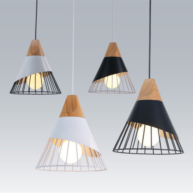 Creative Home Led Pendant Lights Nordic Modern Minimalist Restaurant Living Room Cafe Bar Study Log Wood Conical Iron HanglampCreative Home Led Pendant Lights Nordic Modern Minimalist Restaurant Living Room Cafe Bar Study Log Wood Conical Iron Hanglamp