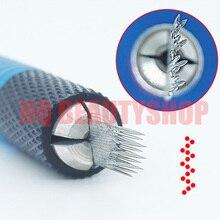 10pcs Slant Microblading Permanent Makeup Tattoo Permanent Makeup 3D Embroidery 3 Row 16 Needles Manual Pen Needles