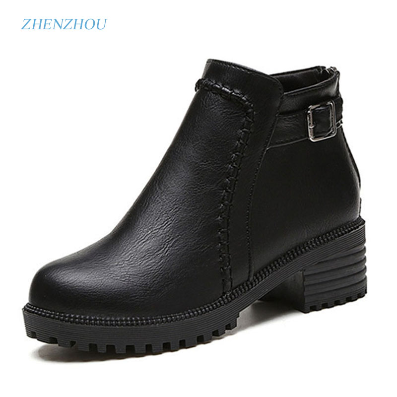 zhenzhou 2017 female boots Round head short boots Autumn and winter style Women's shoes in Europe and America with Martin boots female head teachers administrative challenges in schools in kenya