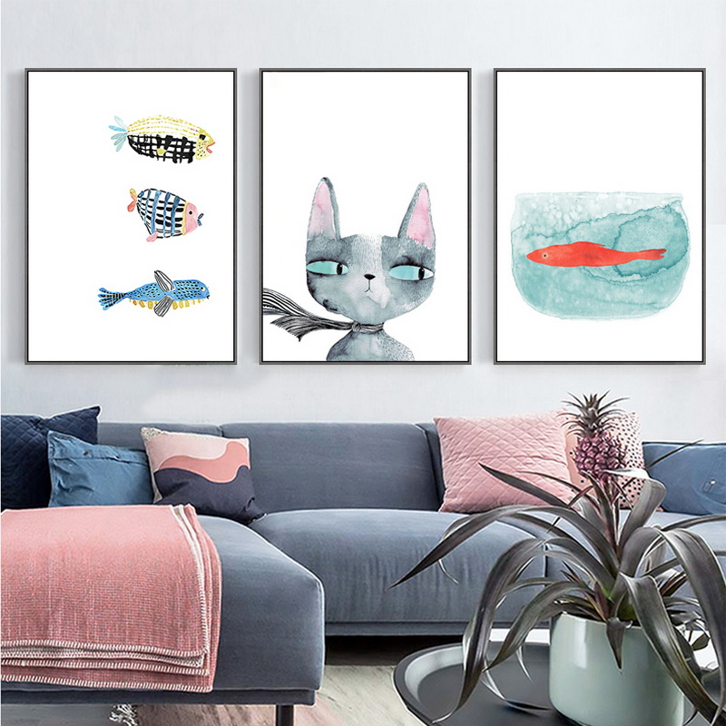 No Frame Original Oil Ink 3 Panels Canvas Cat And Fish Painting On Canvas Wall Art Picture Office Home Decor Z649-1