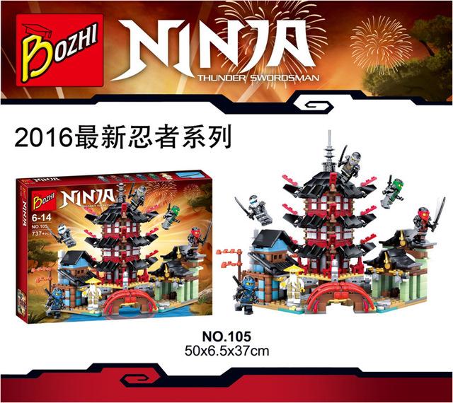 Bozhi 105 ninja templo de airjitzu 737 unids cole jay kai zane ninja bloques de construcción de la ciudad de stiix juguetes
