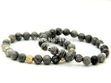 Ailatu joyería de alto grado 8mm gris jaspe piedra beads micro pave cz negro y oro perlas pulseras para hombre regalo